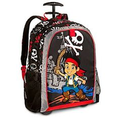 Disney Jake Rolling Backpack - Personalizable | Disney StoreJake Rolling Backpack - Personalizable - When crewing-up for a long voyage, commission Jake's deluxe backpack with retractable handle, which stows gear on wheels for heavy loads or travel. Park pack, part luggage, he'll always be ready to row-l!