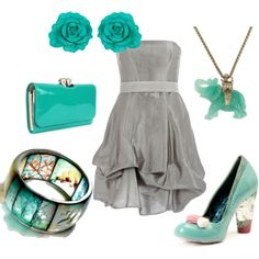 Turquoise and Grey - love everything but the shoes
