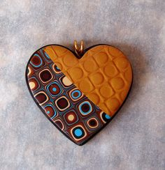 Handmade Polymer Clay Mica Shift and Klimt cane Heart Pendant   Flickr - Photo Sharing!