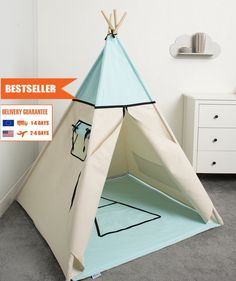 children teepee tent, kids play tent, tipi, teepee tent, set 6 elements indian wigwam Sky by cozydots on Etsy Kids Tents, Teepee Kids, Teepee Tent, Indian Teepee, Perfect Place, Bedroom Ideas, Kids Room, Sky, Children