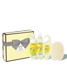 """Valued at $26.Enjoy a sunny-day feeling with the crisp scent of sweet lemons blended with peony blossoms and fresh basil.4-piece boxed gift set includes:• Moisturizing Body Lotion, 8.4 fl. oz.• Refreshing Body Spray, 8.4 fl. oz.• Hydrating Shower Gel, 5 fl. oz.• Loofah, poly trim. 5.75"""" x 4"""""""