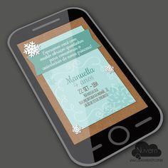 Convite Virtual com visual artesanal  - Princesa do Gelo , Frozen  www.lojadanuvem.com.br