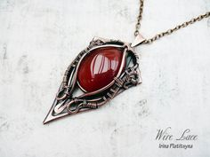Roland's Shield. Copper pendant with the carnelian.  by WireLace