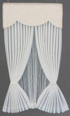 Resultado de imagen para how to make miniature drapes for dollhouse Doll House Curtains, Curtains And Draperies, Drapery, Miniature Furniture, Dollhouse Furniture, Oriental Bedroom, Wrought Iron Fences, Ag Dolls, Barbie Dolls