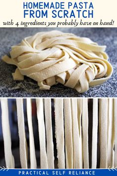 How to Make Homemade Pasta from Scratch  Recipes for Practical Self Reliance Homemade pasta is absolutely incredible and infinitely better than store bought dried pasta. Learn how to make pasta from scratch and craft exceptional homemade meals for your family. #homemade #diy #recipe #pasta Homemade Egg Noodles, Homemade Pasta, How To Make Homemade, Pasta Recipes, Recipe Pasta, Diy Recipe, Cooking Recipes, Cooking Tips, Cooking