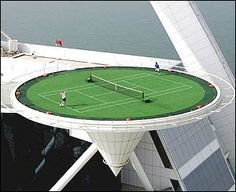 Real Often Shown As Photoped Dubai Hotel Helipad Turned Tennis Court Actually This