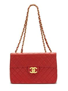Chanel Vintage Red Quilted Lambskin Leather Maxi Flap Bag