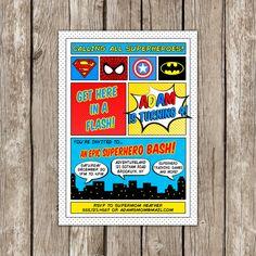 Superhero Invitation  Avengers Invitation  by LittleMsShutterbug