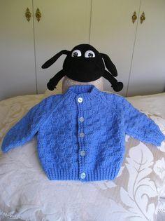 Baby Boys Blue Round Neck Cardigan block pattern  chest by Ewe2u