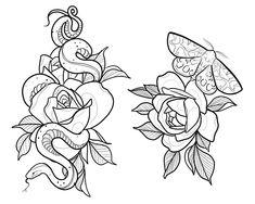 Tattoo Sketches, Tattoo Drawings, Sketch Drawing, Traditional Tattoo Design, Traditional Tattoo Outline, Moth Tattoo, Snake Tattoo, Family Tattoo Designs, Japanese Tattoo Art