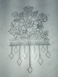 Ideas embroidery simple floral for 2019 Zardozi Embroidery, Hand Embroidery Patterns, Beaded Embroidery, Embroidery Stitches, Pattern Art, Pattern Design, Border Embroidery Designs, Pencil Design, Embroidery Techniques