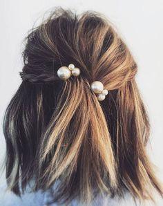 Pearl-pinned. Perfect for a shorter hairdo or even a medium bob!