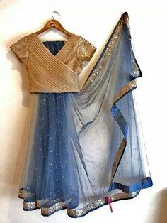 Buy Blue And Golden Color Saree by Akanksha Singh at Fresh Look Fashion Saree Blouse Patterns, Sari Blouse Designs, Saris, Indian Dresses, Indian Outfits, Lehenga Choli, Anarkali, Lehnga Blouse, Lehenga Style