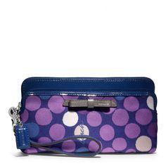 The Poppy Double Zip Wallet In Watercolor Dot Print Fabric from Coach