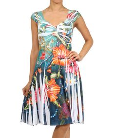 Look at this #zulilyfind! White & Green Floral Sublimation A-Line Dress - Women by J-Mode USA Los Angeles #zulilyfinds