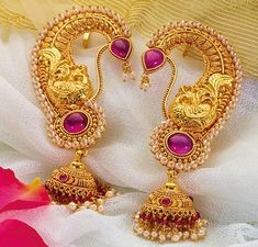 Essential guide for a bride to best traditional maharashtrian jewellery. Latest designs of ornamnets like Vajratik, kolhapuri saj ,nath have been showcased Gold Jhumka Earrings, Gold Earrings Designs, Gold Jewellery Design, Gold Necklace, Pendant Necklace, Gold Designs, Jewellery Earrings, Silver Jewellery, Fashion Earrings