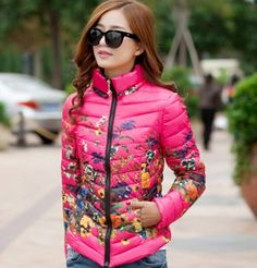 winter jacket women down cotton jacket parka women coat Floral printing long sleeve Slim short fur collar hooded coat HL6986-in Down & Parkas from Women's Clothing & Accessories on Aliexpress.com US $24