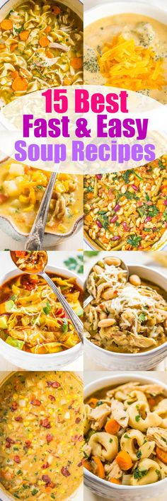 15 Best Fast and Easy Soup Recipes - Warm up with these easy soup recipes! Most are ready in under 30 minutes and perfect for busy weeknights! Hearty, comforting, and so… Best Soup Recipes, Healthy Soup Recipes, Chili Recipes, Cooking Recipes, Recipes Dinner, Herb Recipes, Amazing Recipes, Potato Recipes, Pasta Recipes