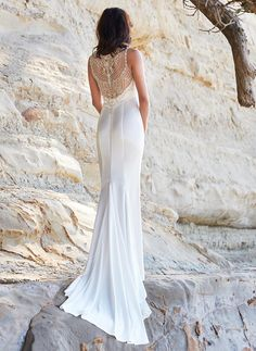 Diamante back wedding dress with simple silhouette.
