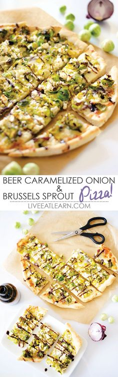 This delicious homemade Brussels sprout flatbread pizza recipe has a crispy top with a cheesy, boozy caramelized onion interior. Sweet, savory, and smoky flavors combine in what will soon be your favorite healthy vegetarian pizza! // Live Eat Learn