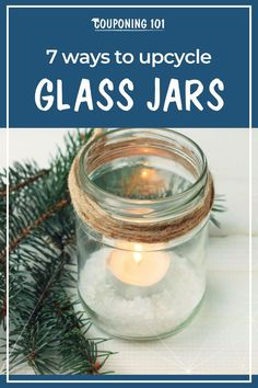 Dollar-Wise DIY: 7 Ways to Upcycle Glass Jars - Couponing 101 Mason Jar Lanterns, Candle Jars, Mason Jars, Crafts With Glass Jars, Small Glass Jars, Looking Glass Spray Paint, Bathroom Jars, Bottle Centerpieces, Centrepieces