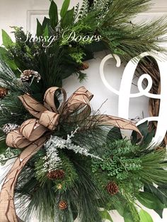 Winter Wreath, Monogram Wreath, Initial Wreath For Front Doors, Sassy Wreath, Grapevine Christmas Wreath, Home And Living, Winter Decor, Letter Decor, Front Door Wreaths, . Woodland Christmas, Rustic Winter Wreaths And Door Hangers Designed on a 18' grapevine and Accented with lush pine greene