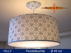 Leuchte HILLY Ø 45 cm, Pendellampe mit Diffusor und Baldachin. Einfach schön im traditionellen Landhausstil der 50er Jahre