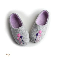 Handmade wool felted slippers with rubber soles house by RitaJFelt, $75.00