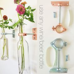 Items similar to HARDWARE ONLY - 20 Wine Bottle Wall Flower Vase Kits - copper, silver or iron hardware - DIY - hostess gift on Etsy Wine Bottle Wall, Wine Bottle Crafts, Wine Bottles, Soda Bottles, Bottle Vase, Hanging Vases, Diy Hanging, Wall Vases, Flower Wall