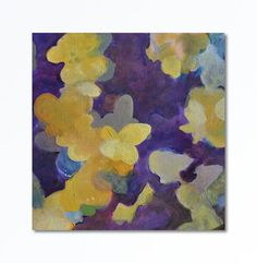Large Abstract painting Floral yellow purple original art