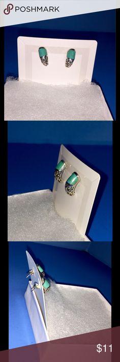 Filigree 925 SS and Turquoise Pierced Earrings One Pair of gently used Turquoise and SS Earrings. Jewelry Earrings