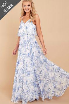 6 Ever After Cinderella Wishes Blue Print Maxi Dress at reddressboutique.com