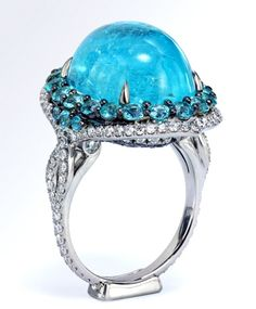 Mouthwatering Paraiba tourmaline ring by Leon Mege