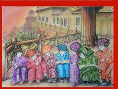 Rosângela Vig Arte com lápis e em telas : China em amarelo e vermelho - Passo a passo