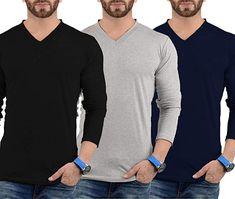 Plain Long Sleeve Shirt Men - Pack of 3 Soft Cotton V Neck Full Sleeves Jersey | Amazon.com Grey Long Sleeve Shirt, V Neck T Shirt, Shirt Men, Sport Fashion, Men Sweater, Amazon, Sport Style, Full Sleeves, Posts