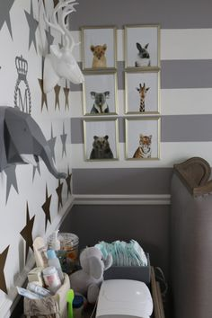 These animal prints are an adorable touch to this nursery corner!