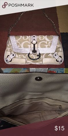 guess silver shoulder bag Silver guess chain link shoulder strap Guess Bags Shoulder Bags