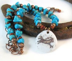 Turquoise horse necklace from Janet Miriam Designs