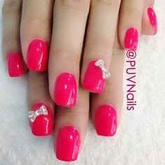 Nails, Nail Art, Nail Design, Manicure, Rhinestones, Bows, Square Nails, Hot Pink, Simple, Cute