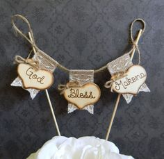 God Bless Christening Baptism Cake Topper Burlap & by justforkeeps, $26.00