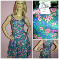 Vintage 60s Green/Pink FLOWER POWER PSYCHEDELIC Dolly Mod Gogo dress 10 S 1960s Kitsch by HoneychildLoves on Etsy
