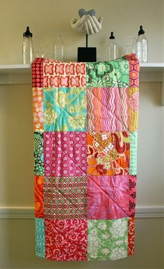 Baby Quilt -  Sunny Summer - Blanket for Baby Girl in Pink, Turquoise, Orange, Yellow, Green via Etsy
