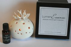 LumenEssence Aromatic Mood Light Collection {heat & cold fragrance diffusion} A mood lamp that diffuses an aroma without a crucible of oil/water. approx size Gift boxed with the diffuser and 20 ml of fragrance oil of your choice. Ceramic Oil Burner, Mood Lamps, Oil Water, Mood Light, Oil Burners, Fragrance Oil, Cacti, Diffuser, Ceramics