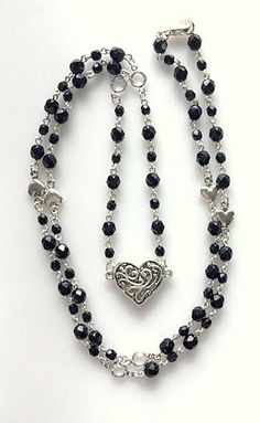 Long Black Beaded Rosary Style Station Necklace With Heart