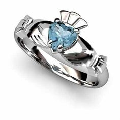 Aqua Marine Claddagh Ring