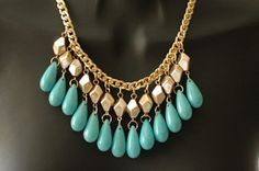 Dangle Necklace Turquoise and Gold Necklace Chain by stylelovers, $24.00