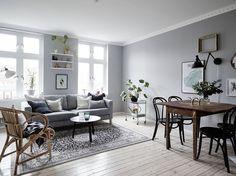 Decor Inspiration: Grey Sofa (Time for Fashion) Living Room Grey, Living Room Modern, Home Living Room, Living Room Designs, Living Spaces, Scandinavian Apartment, Scandinavian Interior Design, Deco Addict, Modern Floor Lamps