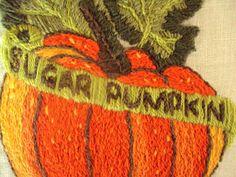 ♥ vintage 70s crewel needlework wall art...Sugar Pumpkin...rich oranges...mossy green...avocado green...wool yarn embroidery on linen fabric...dark
