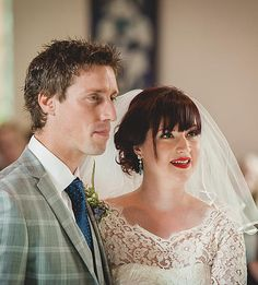 Lisa with her bespoke wedding veil and Kev ceremony