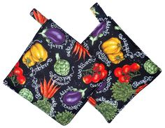 "Amazon.com: Custom & Durable {7"" x 7"" Inch} 2 Set Pack, Small Size ""Non-Slip"" Pot Holders Made of Cotton for Carrying Hot Dishes w/ Spring Vegetable Garden Style [White, Red, Purple, Green, & Black]: Home & Kitchen"